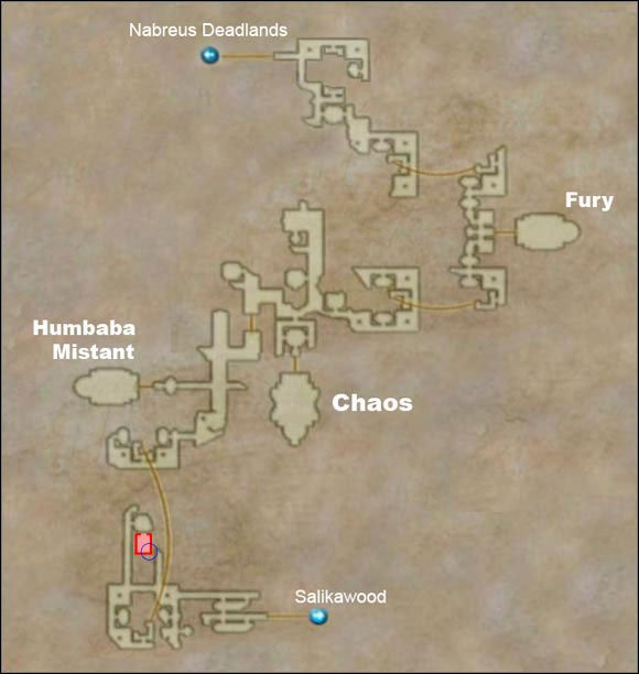 Hidden area is marked in red. Blue circle shows the location of Baknamy Merchant's shop. - Necrohol of Nabudis - Additional Locations - Final Fantasy XII - Game Guide and Walkthrough