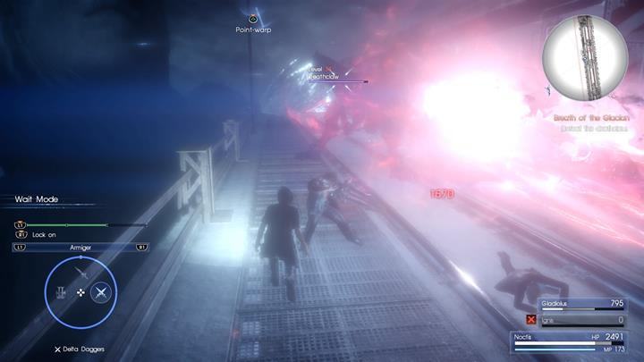 The laser attack must be dodged at all costs. - Chapter 12 - End of Days | Main storyline - Main storyline - Final Fantasy XV Game Guide