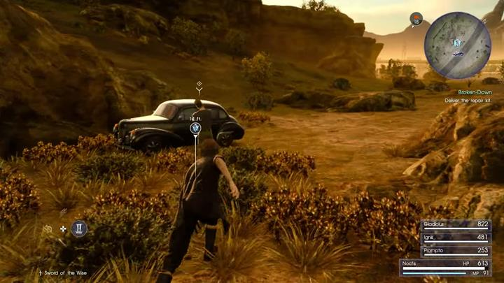 You just have to get close to the car and use a repair kit. - Broken Cars | Side quests - Side quests - Final Fantasy XV Game Guide
