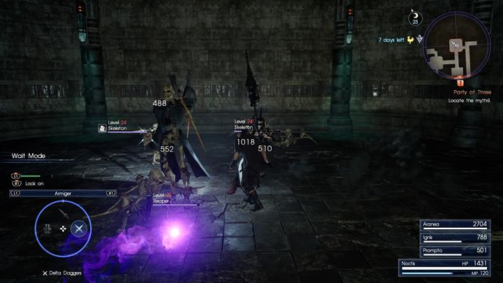 Undead enemies make up a majority of the enemies in the dungeon. - Chapter 7 - Party of Three | Main storyline - Main storyline - Final Fantasy XV Game Guide