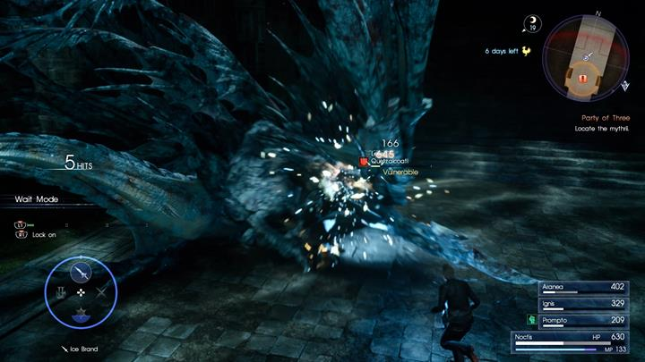 The key to success is to attack the boss when its on the ground and avoid its electrical attacks. - Chapter 7 - Party of Three | Main storyline - Main storyline - Final Fantasy XV Game Guide