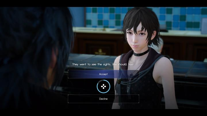 A walk with Iris is a nice breather and it gives you an opportunity to acquire some experience points. - Chapter 3 - The Open World | Main storyline - Main storyline - Final Fantasy XV Game Guide