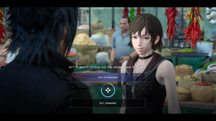 During the walk you should show interest and be nice to Iris. - Chapter 3 - The Open World | Main storyline - Main storyline - Final Fantasy XV Game Guide