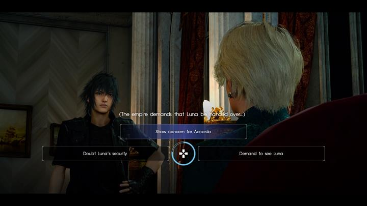 Each choice comes with consequences - a specific amount of hidden points. - Chapter 9 - Callings | Main storyline - Main storyline - Final Fantasy XV Game Guide