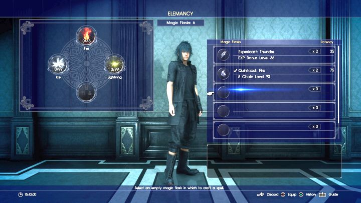 Elemancy screen used to create spells. - Magic basics - Magic (Elemancy) - Final Fantasy XV Game Guide