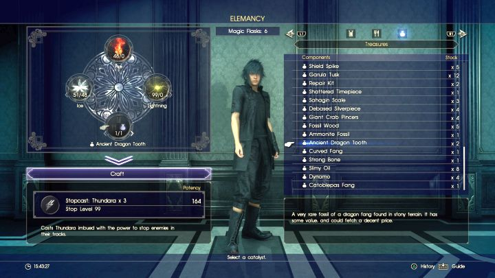 Most of the items can be used as catalysts. - Acquiring resources and creating spells - Magic (Elemancy) - Final Fantasy XV Game Guide