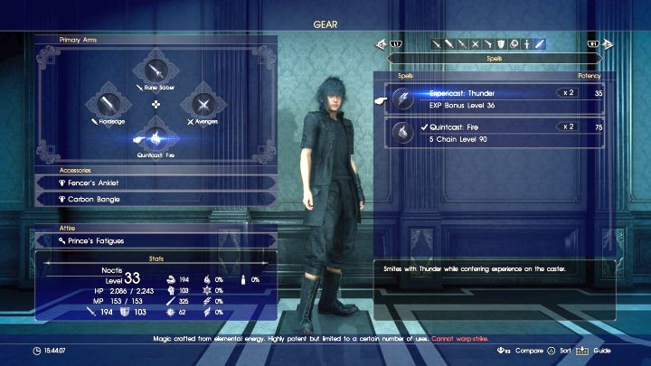 Spell youve created must be equipped on a character. - Acquiring resources and creating spells - Magic (Elemancy) - Final Fantasy XV Game Guide