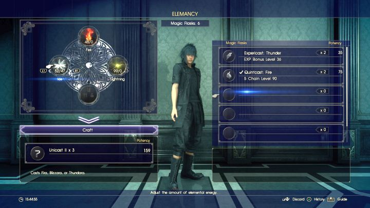 Here you will create a Unicast spell, as none of the elements have majority (over 50%). - Acquiring resources and creating spells - Magic (Elemancy) - Final Fantasy XV Game Guide