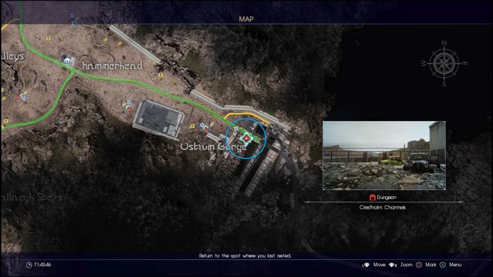 Location of the Crestholm Channels. - Crestholm Channels | Optional dungeons - Optional dungeons - Final Fantasy XV Game Guide