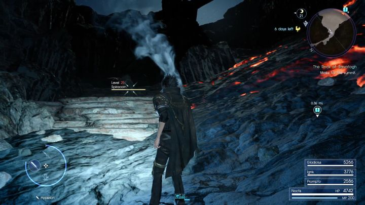 Burning lava looks scarier than it is - it deals almost no damage. - Rock of Ravatogh | Optional dungeons - Optional dungeons - Final Fantasy XV Game Guide