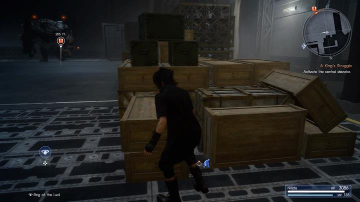 Daemons are patrolling the warehouse - avoid any contact with them and reach the elevator access key location. - Chapter 13 - Redemption | Main storyline - Main storyline - Final Fantasy XV Game Guide