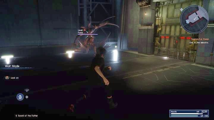 You cant defeat Foras - wait for the elevator and run away using it. - Chapter 13 - Redemption | Main storyline - Main storyline - Final Fantasy XV Game Guide