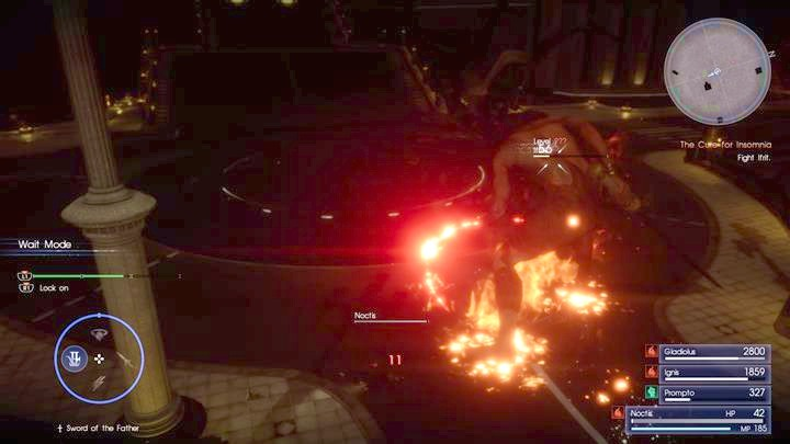 Try to attack the enemy when hes covered with flames. - Chapter 14 - Homecoming | Main storyline - Main storyline - Final Fantasy XV Game Guide