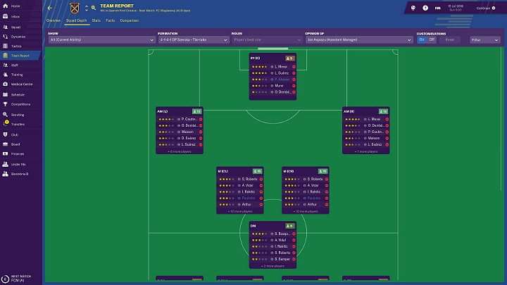 In this tab you can see how many players in the club can play on a specific position - First steps in career of Football Manager 2019 - Good start - Football Manager 2019 Guide and Tips
