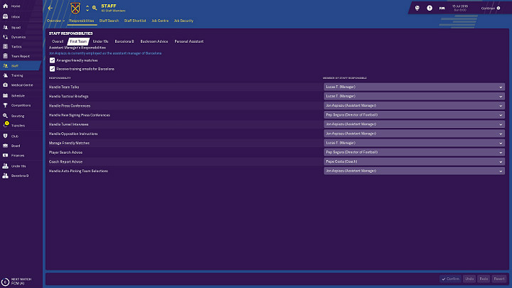 In Football Manager 2019 you dont have to manage everything alone - General Tips for Football Manager 2019 - Good start - Football Manager 2019 Guide and Tips