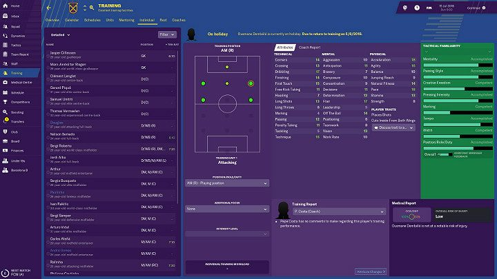 Individual training allows for the development of specific traits in selected players, which will prepare them better to perform a specific role on the field - Training in Football Manager 2018 - Club management - Football Manager 2019 Guide and Tips