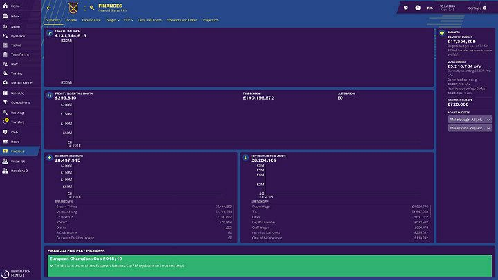 As a manager of a football club you must also take care of its finances - Funds in Football Manager 2018 - Club management - Football Manager 2019 Guide and Tips