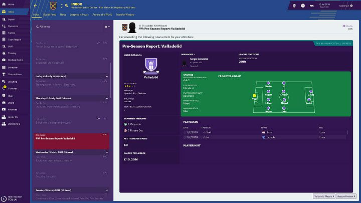 The first and very important source of information is the Scout report, which lands to your e-mail inbox - Preparations for a match in Football Manager 2019 - Match - Football Manager 2019 Guide and Tips