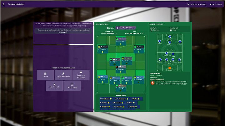 When you manage to get to know your rival well enough, you will be able to choose the starting eleven for the upcoming match - Preparations for a match in Football Manager 2019 - Match - Football Manager 2019 Guide and Tips