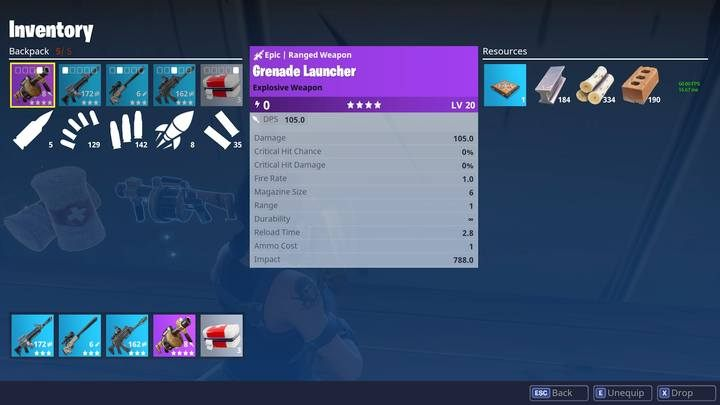 Grenades Grenade Launcher Rpg Weapons And Items Fortnite