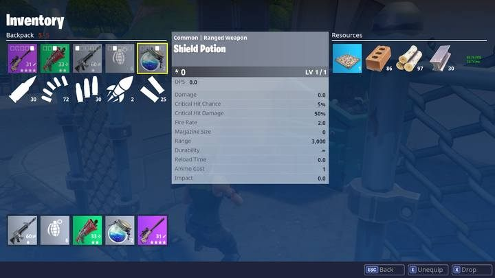 Shield potion should be used immediately. - Meds in Fortnite: Battle Royale | Weapons and items - Weapons and items - Fortnite: Battle Royale Game Guide