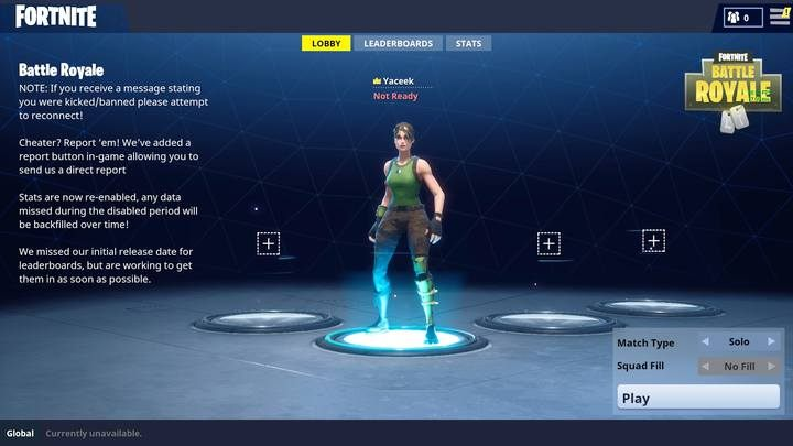 Fortnite: Battle Royale selection screen. - Basic tips - How to start in Fortnite: Battle Royale? - Beginners Guide - Fortnite: Battle Royale Game Guide