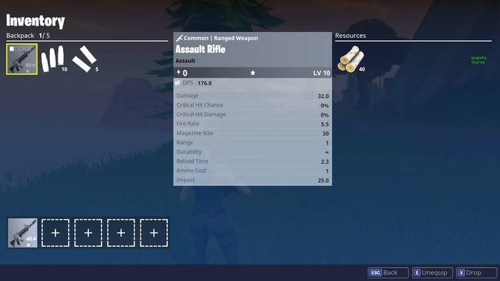 Inventory screen. - Weapons and Inventory in Fortnite: Battle Royale - Weapons and items - Fortnite: Battle Royale Game Guide