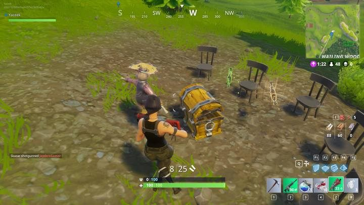 Open treasure crate s to obtain gear. - The beginning of the Fortnite: Battle Royale match - The match - Fortnite: Battle Royale Game Guide
