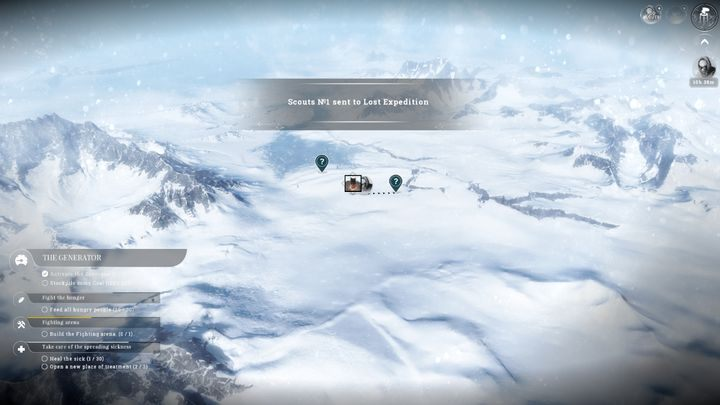 You can manage the expeditions by using the map. - Expeditions | Basics - Basics - Frostpunk Game Guide