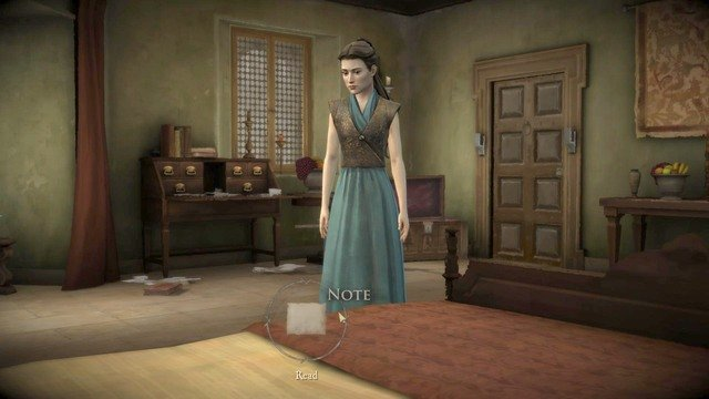 After regaining control of Mira Forrester walk to door of her room and select Open or Bust In option to walk inside - Chapter 5 | Episode 2: The Lost Lords - Episode 2: The Lost Lords - Game of Thrones: A Telltale Games Series Game Guide