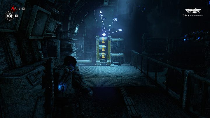 The generator is a little bit further - disable it with a shock trap - Act 2 Chapter 5 - Dirtier Little Secrets | Gears 5 Walkthrough - Act II - Gears 5 Guide