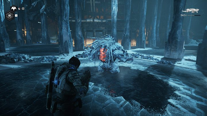 The monster will fall into the water and freeze for a while - Act 2 Chapter 5 - Dirtier Little Secrets | Gears 5 Walkthrough - Act II - Gears 5 Guide