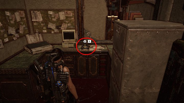 One component is in the small office behind the bars counter - Act 3 Chapter 1 - Fighting Chance | Gears 5 Walkthrough - Act III - Gears 5 Guide