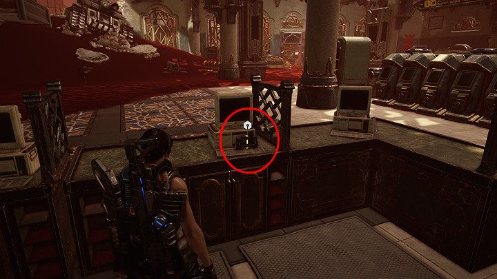 On the right, you will notice a long counter with computers - Act 3 Chapter 1 - Fighting Chance | Gears 5 Walkthrough - Act III - Gears 5 Guide