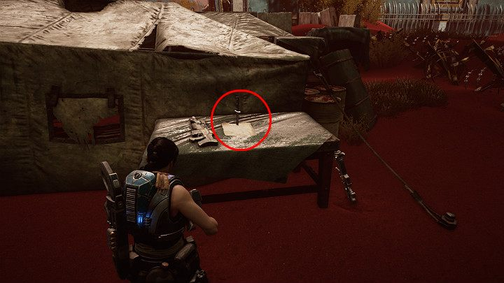 The next collectible lies on the table on the left, next to the tent - Nomads creed - Act 3 Chapter 1 - Fighting Chance | Gears 5 Walkthrough - Act III - Gears 5 Guide