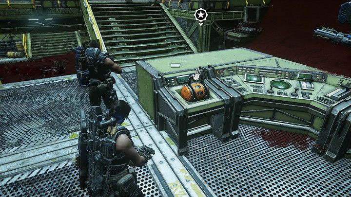 Go to the console and move the lever to lower the first satellite - Act 3 Chapter 2 - Rocket Plan | Gears 5 Walkthrough - Act III - Gears 5 Guide