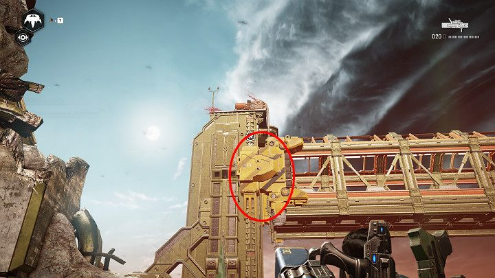Shoot in the direction of the bridge - aim at the place marked in the picture above - Act 3 Chapter 2 - Rocket Plan | Gears 5 Walkthrough - Act III - Gears 5 Guide