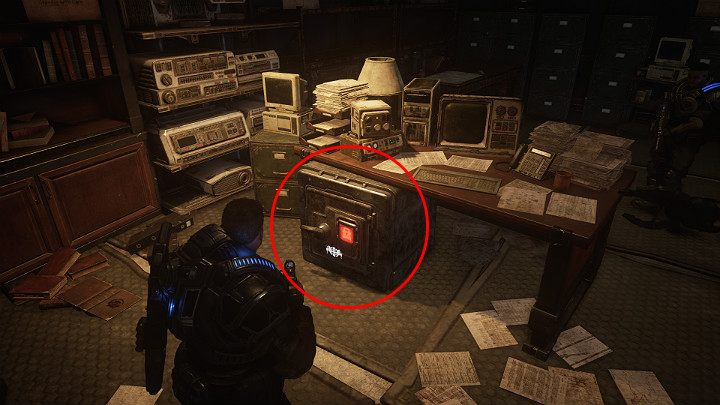 Your next task is to open the safe in the commanders office - Act 1 Chapter 1 - Shot in the Dark | Gears 5 Walkthrough - Act I - Gears 5 Guide