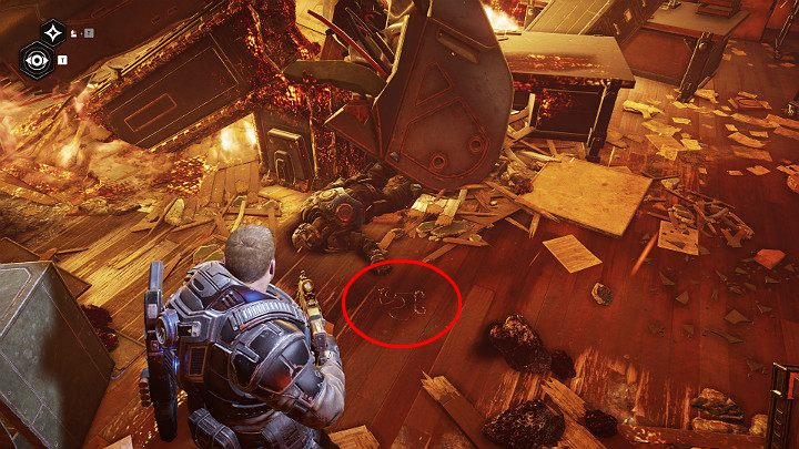While moving through the burning building, dont forget to pick up another collectible item lying on the ground - Fallen Raven pilot - Act 1 Chapter 3 - This is War | Gears 5 Walkthrough - Act I - Gears 5 Guide