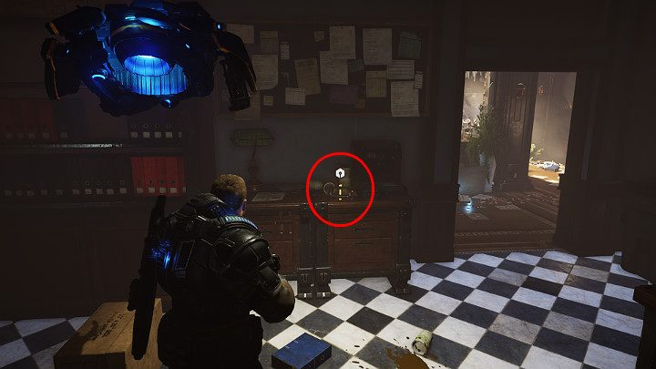 A component is on the dresser located a little bit further - make sure you pick it up - Act 1 Chapter 3 - This is War | Gears 5 Walkthrough - Act I - Gears 5 Guide