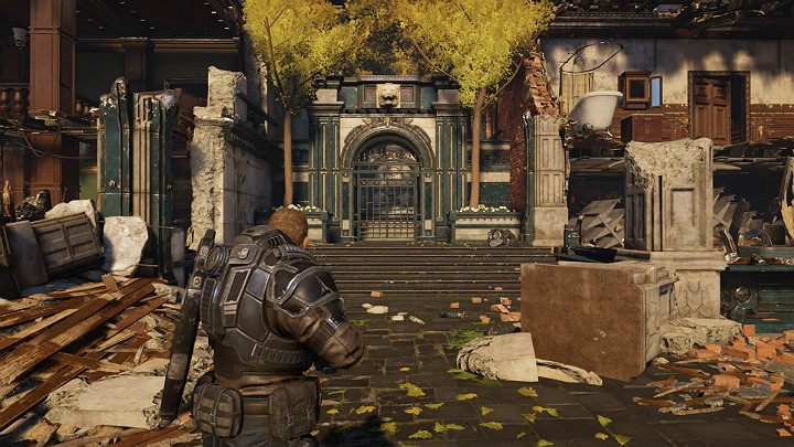 Cut the chain and go through the gate presented in the picture above - Act 1 Chapter 3 - This is War | Gears 5 Walkthrough - Act I - Gears 5 Guide