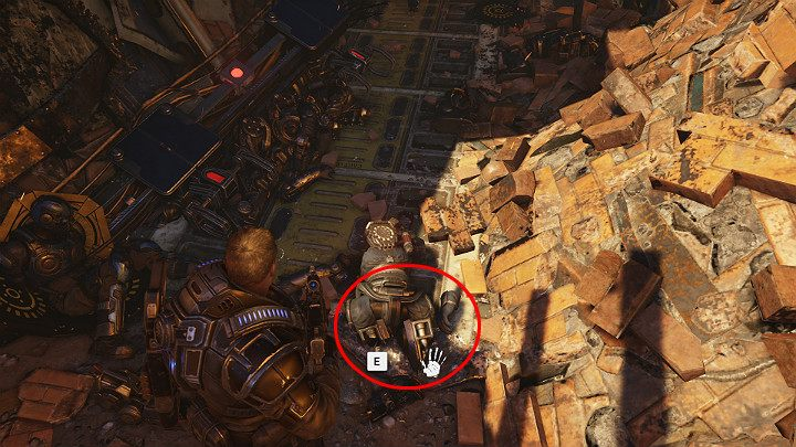Moving on, dont miss another collectible that lies on the ground - Coalition dog tag: GEAR who died in a Condor crash - Act 1 Chapter 3 - This is War | Gears 5 Walkthrough - Act I - Gears 5 Guide