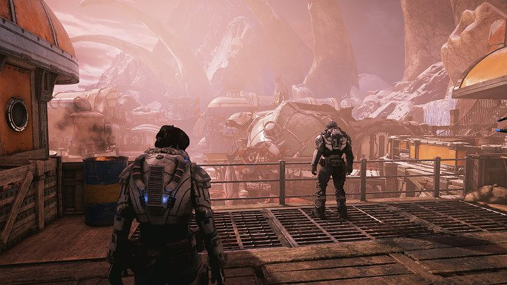 A few months after the fall of Settlement no 2, Kait and Del try to convince the village of Outsiders to join in the fight - Act 2 Chapter 1 - Recruitment | Gears 5 Walkthrough - Act II - Gears 5 Guide