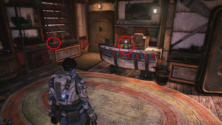 A collectible and a component are in the small shop on the left - Major Howler and warrior ants - Act 2 Chapter 1 - Recruitment | Gears 5 Walkthrough - Act II - Gears 5 Guide