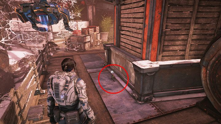 Another component is near the boxes with apples, behind the smokehouse - Act 2 Chapter 1 - Recruitment | Gears 5 Walkthrough - Act II - Gears 5 Guide