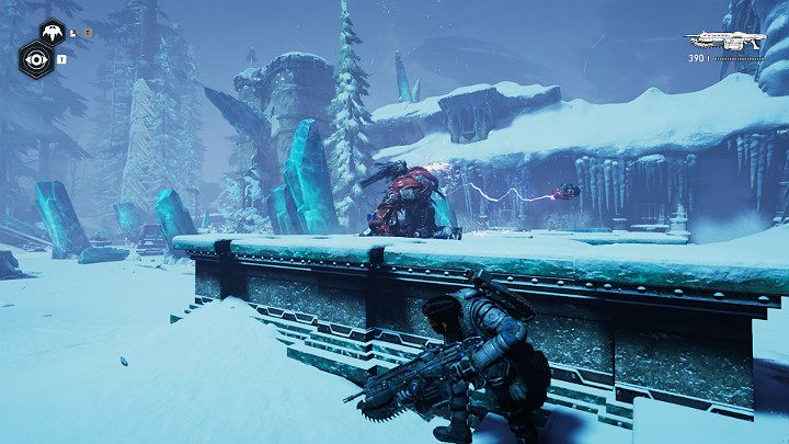 The enemy can be killed from a safe distance, or you can go around its position and attack from behind - the creature has problems with walking - Act 2 Chapter 3 - Forest for the trees | Gears 5 Walkthrough - Act II - Gears 5 Guide