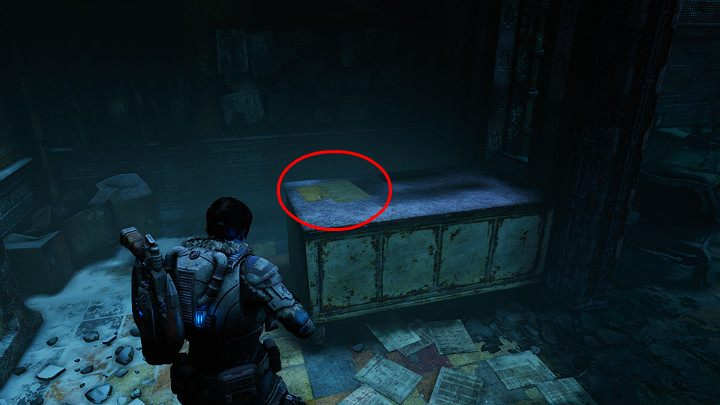 A collectible lies on the table by the big door - A captured letter - Act 2 Chapter 3 - Forest for the trees | Gears 5 Walkthrough - Act II - Gears 5 Guide