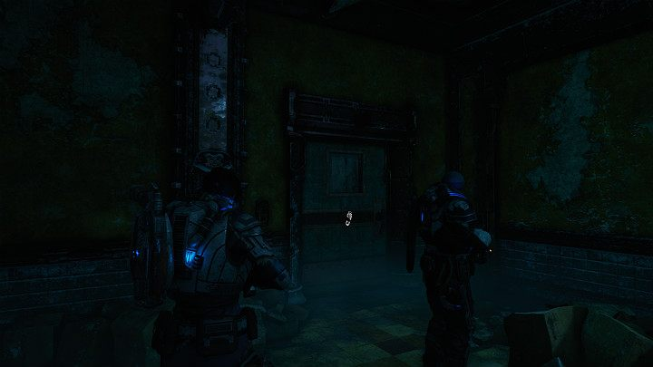 The door on the left leads to the toilet - there is a lot of ammo there - Act 2 Chapter 3 - Forest for the trees | Gears 5 Walkthrough - Act II - Gears 5 Guide