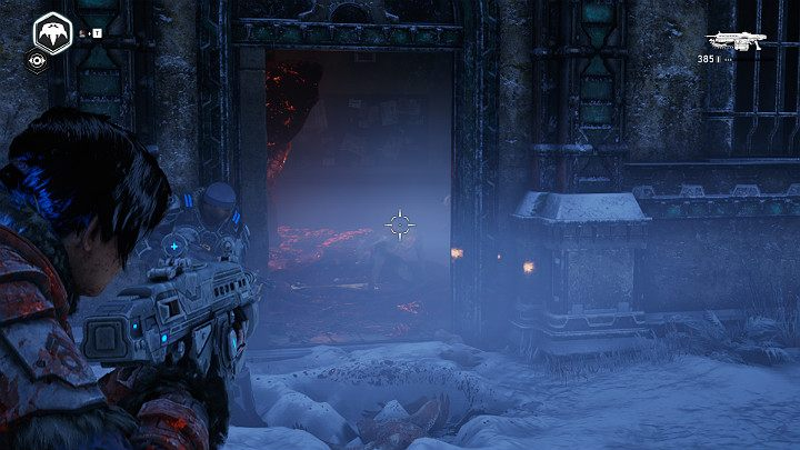 As soon as you open the door to the building on the right, you will get attacked by nimble and dangerous enemies approaching you from all sides - Act 2 Chapter 3 - Forest for the trees | Gears 5 Walkthrough - Act II - Gears 5 Guide