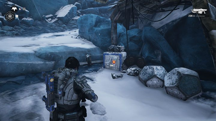 The downed helicopter will not only open the exit for you but also open the safe - Act 2 Chapter 4 - The Source of It All | Gears 5 Walkthrough - Act II - Gears 5 Guide
